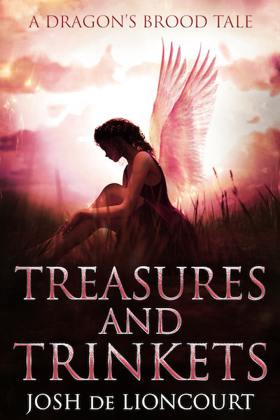 Treasures and Trinkets: A Dragon's Brood Tale. A faerie girl sits in the woods at sunset, her face lost in shadow.