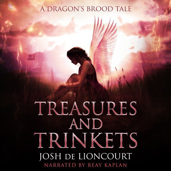 Treasures and Trinkets audiobook cover. A faerie girl sits in the woods at sunset, her face lost in shadow.