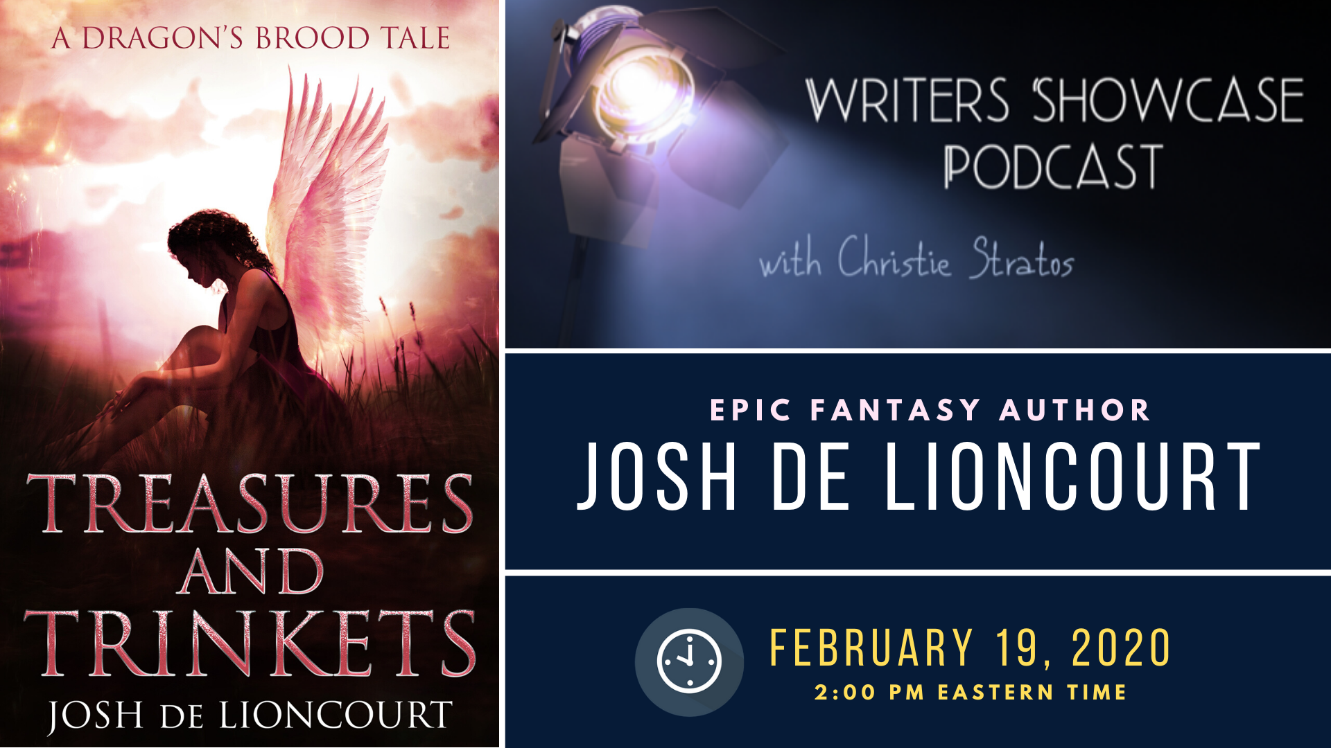 Josh de Lioncourt on the Writers' Showcase, 19/Feb/2020, 2:00pm EST.